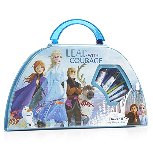 Disney Frozen 2 Valigetta Colori per Bambini con Elsa ed Anna di Frozen Regno di Ghiaccio 2 | Kit Disegno 50 Pezzi con Pennarelli Colorati e Matite | Regalo Ufficiale da 3 Anni