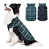 TPHC Winter Jackets for Medium Large Dogs,Reversible Windproof Waterproof British Dog Jacket and Sweater, Dog Apparel for Cold Weather,Green XXL