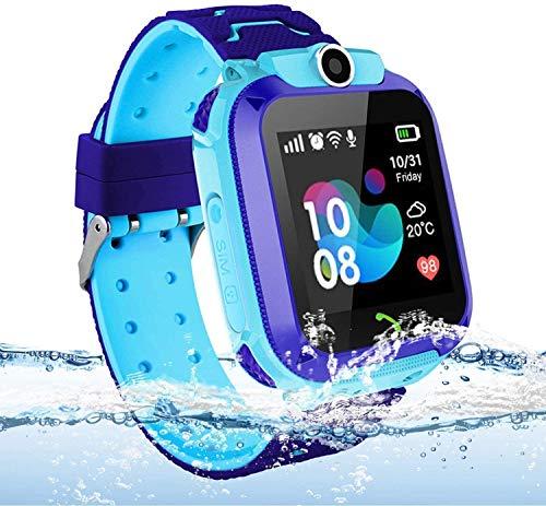 Langguth Reloj inteligente para niños, reloj inteligente LBS / GPS con pantalla táctil con llamada SOS, cámara, juegos matemáticos, chat de voz (azul)