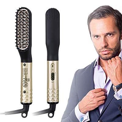 CHARMINER Beard Straightener for Men, Electric Hot Beard Straightening Comb with Dual Voltage 110-240V, 360° Rotation Cord Multifunctional Hair Styler for travel & Men's Short, Long Beard or Hair Gold