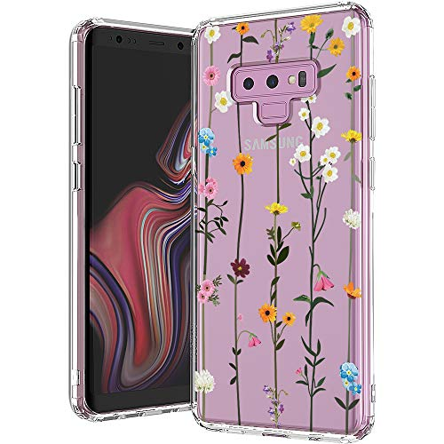 MOSNOVO Galaxy Note 9 Case, Wildflower Floral Flower Pattern Clear Design Printed Transparent Hard Back Case with TPU Bumper Protective Case Cover for Samsung Galaxy Note 9