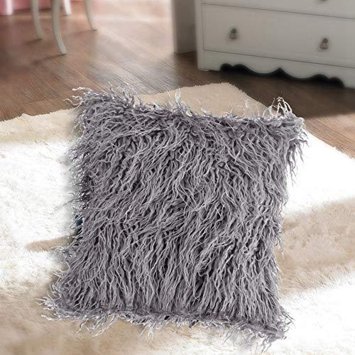Funda de almohada para sofá, funda de almohada de felpa larga, funda de almohada para sofá de piel, decoración del hogar para el dormitorio de textiles para el hogar del coche(21*21*4cm-grey)