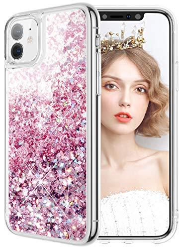 wlooo iPhone 11 Hülle Glitzer, iPhone 11 Hülle Silikon, Handyhülle iPhone 11 Glitzer, Glitter Flüssig Mädchen Frauen Treibsand Weich TPU Bumper Silikon Schutzhülle Case für iPhone 11 (Rose Gold)