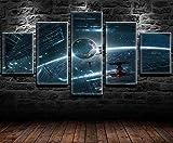 REWE Cuadro en la Pared Cartel de la película de Star Wars-A_200 × 100CM Decoración hogareña Impresión de Lienzo 5 lienzos continuos Fotomural salón Imagen del Dormitorio murales enmarcados