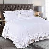 Queen's House Farmhouse Ruffled King Size Comforter Set,White Lightweight Fluffy Boho Chic Bedding Comforter,Ultra Soft Microfiber Inner Fill Bedding