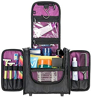 Hanging Toiletry Bag for Women and Men, Cosmetics Travel Bag, Secures Travel and Full-Size Toiletries Inside Toiletry Kit, Attaches to Roller Bag by MBM Design