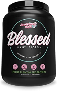 BLESSED Plant Based Protein Powder – 23 Grams, All Natural Vegan Protein, 2 Pounds, 30 Servings (Strawberry Mylk)