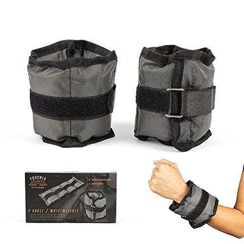 Phoenix Fitness RY933 Pesi da polso - Pesi per Caviglia con Cinturino Regolabile - 2 Pesi per Gambe Sportive (0,5 kg Ciascuno) Grigio
