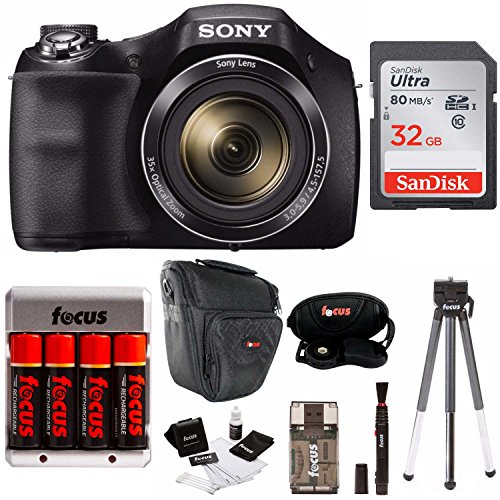 Sony Cyber-Shot DSC-H300/B Compact Zoom Digital Camera in Black + SanDisk Ultra 32GB 80MB/s SD Card + Carrying Case + 4 AA Rechargeable Batteries w/Charger + Accessory Kit