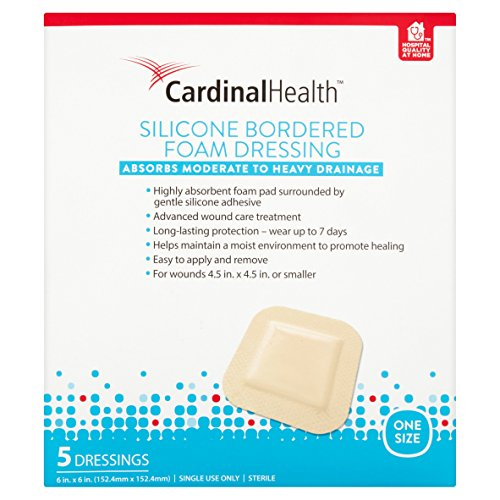Cardinal Health BFM66RR Silicone Bordered Foam Bandage 6-inch x 6-inch (15), 15 Count Case Pack