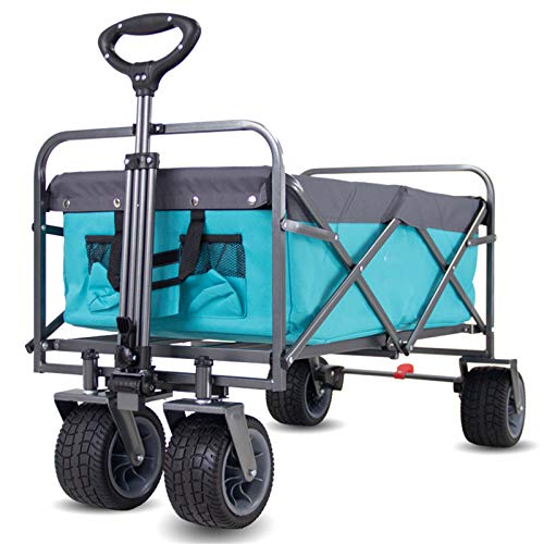 Folding Shopping Trolley, 2 in 1 Lightweight Cart,Camping Wagon Beach Garden Trolley Cart Heavy Duty Utility Yard with Side Pocket Cup Holders Carry Bag 120KG