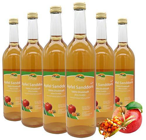 Bleichhof Apfel-Sanddorn Saft - 100% Direktsaft, naturrein und vegan, OHNE Zuckerzusatz, 6er Pack (6x 0,72l)