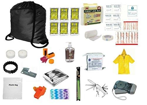 3 Day Emergency Food Water Blanket Whistle Flashlight 1st Aid Survival Kit 72 Hr (Black)