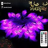 30 LED Luces de cuerda para Halloween Luces de Pascua Patio de Navidad Césped Jardín Fiestas y decoraciones navideñas Luces temáticas Luz de cuerda a batería a prueba de agua (Luz púrpura)
