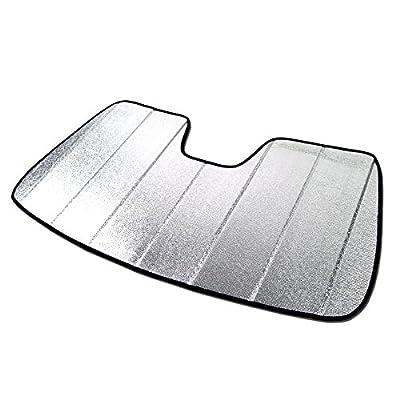 Tuningpros SS-324 Custom Fit Car Windshield Sun Shade Protector, Sunshade Visor Silver & Grey 1-pc Set Compatible With 2014-2019 Toyota Highlander