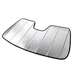 Made with reflective mylar flim in silver (Front) and felt material in Grey (Back) With supporting boards which prevent the sunshade from falling (anti-droop / anti-sag) Unique fit folding thermal shade provide protection against heat and damaging su...
