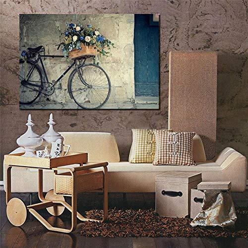 Retro Lienzo de Bicicleta, Pintura Baratos Cuadros Modernos Cuadro de Pared Impresión en Lienzo Decoración para el Hogar Salón Pared Cuadros Sin marco 60X90cm