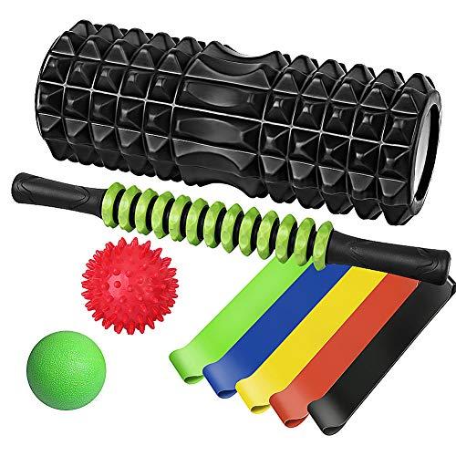 Vsadey フォームローラー 9 IN 1セット 筋膜リリース マッサージ ボール ストレッチバンド エクササイズ トレーニング 腰痛筋肉の痛み 肩こりなどを改善 血行促進で免疫力を高める 手足の冷え対策