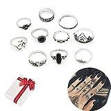 Jurxy - Juego de 10 anillos de ópalo vintage para nudillos, unisex, diseño de símbolo...