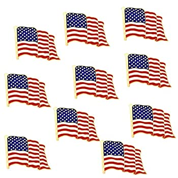 10 Pack Metal American Flag Lapel Pins Waving US USA Pins Bulk United States Patriotic Pins Series Veterans Day Pins