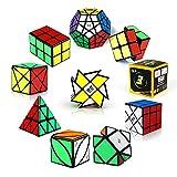 ROXENDA Cubos de Velocidad, [Paquete de 10] Speed Cube Set - 2x2x2 3x3x3 2x2x3 Pirámide Megaminx Skew Axis Windmill Ivy Fisher Cube, Smooth Magic Cube Colección de Rompecabezas