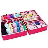 Schublade Organizer Aufbewahrungsboxen Faltbare Trennwände Schrank Unterwäsche BH Socken Stoff Veranstalter 4 Set Rose
