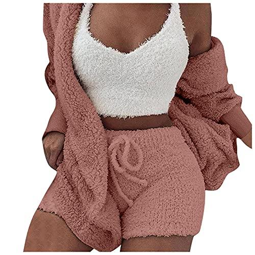 Damen Pullover Herbst Pyjama Plüsch 3-teiliges Set-Strickjacke Bauchnabel und Shorts Einfarbig Sportbekleidung Langarm Sweatshirt Tops Bluse Shirt