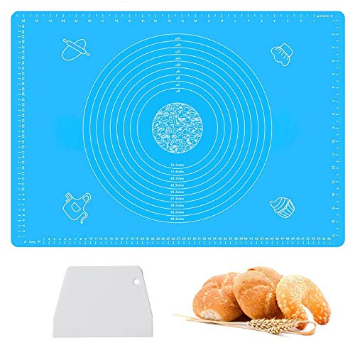 Haozcl Large Silicone Pastry Baking Mats with Measurements 25' x 18',Non stick and Non Slip Counter Mat, Bread Making Tools And Supplies,Dough Rolling mat, Pie Crust, Fondant Mat(Blue)