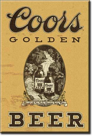 Imã de geladeira de cerveja vintage dourado Coors da Desperate Enterprises, 5 x 7 cm