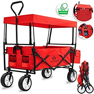 KESSER® Bollerwagen faltbar mit Dach Handwagen Transportkarre Gerätewagen | inkl. 2 Netztaschen und Einer Außentasche | klappbar | Vollgummi-Reifen | bis 100 kg Tragkraft | Rot