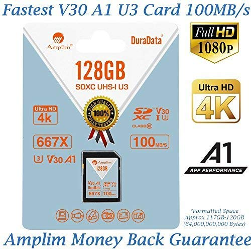 Amplim 128GB V30 A1 SDXC SD Card (U3 UHS-I Class 10 Extreme Pro) 128 GB Ultra High Speed 667X 100MB/s UHS-1 XC Flash Memory Storage for HD/UHD/4K Videos - Cameras, Computers, Camcorders. 128G