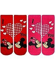 Disney Calzini Bambina Minnie Mouse Kiss Mickey Mouse I Love You | Pack 2 in 1 | 2-9 Anni | Cotone | Taglie da 23 a 34