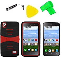 Heavy Duty Hybrid Phone Cover Case + Screen Protector + Extreme Band + Stylus Pen + Pry Tool For Straight Talk Tracfone NET10 Huawei Pronto LTE H891L / Ascend SnapTo G620-A2 LTE (S-Hybrid Black Red)