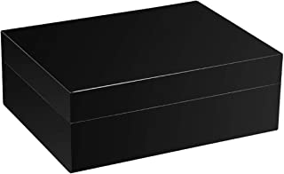 LIFANGAU Cigar Box, Cedar Wood Cigar Box, Humidor, Cigar Humid Box, Black, Blue, Red, Yellow (Color : Black)