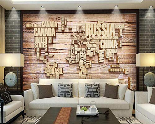 Hotel Cafe achtergrond decoratief 3D wallpaper muurschildering Engelse letters stereo hout tv sofa nacht 3D wallpaper wgop 200 x 140 cm.