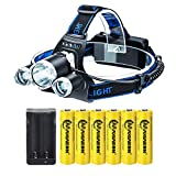 LED Headlamp Flashlight,Kit with 6PCS 3.7V High Capacity Rechargeable 18650 Battery + Batteries Charger For Camping,Hiking, Outdoors