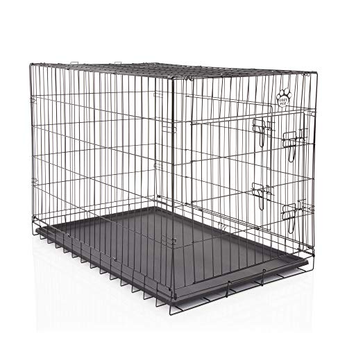 COZY PET Dog Cage 42' Black ABS Tray Folding Puppy Crate Cat Carrier Dog Crate DCP42B (We do not ship to Channel Islands.)