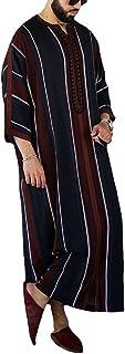 GaoYunQin Rayé pour Hommes Col en V Peignoir Manche Longue Musulman Caftan Coton et Lin Robe Longue Chemise Décontractée