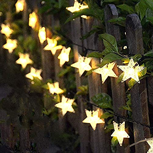 Solar String Lights Garden, 33ft 100 LED Star Fairy Lights Outdoor Solar Powered Led Star String Light Waterproof 8 Modes Decorative Light for Garden Patio Yard Home Wedding Party, Warm White