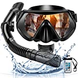 Arkmiido Snorkel Máscara, Kit de Snorkel,Máscara de Buceo de Silicona y Snorkel seco,Set para Snorkeling Máscara e Tubo,et de Snorkel Profesional para Adultos y jóvenes,Unisex Adulto (Negro)
