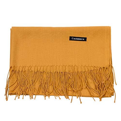 UK_Stone Schal Damen Winter Halstuch Unifarbe Deckenschal aus Imitation Kaschmir Herbst Damenschal, Ingwer Gelb