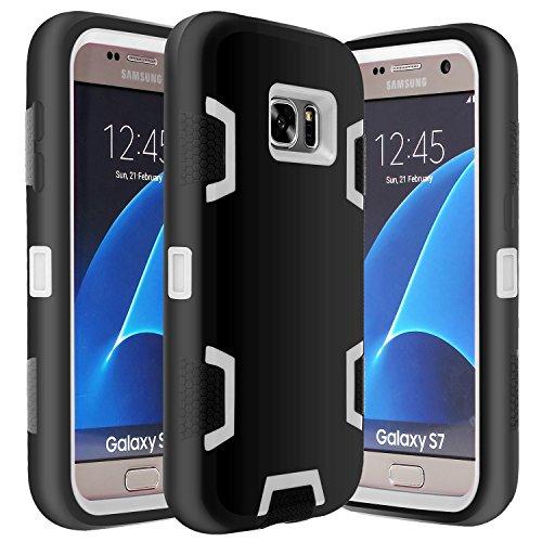 E LV Galaxy S7 Case Hybrid Defender Rugged Shockproof Dirtproof Case Cover for Samsung Galaxy S7 - [Black/Grey]