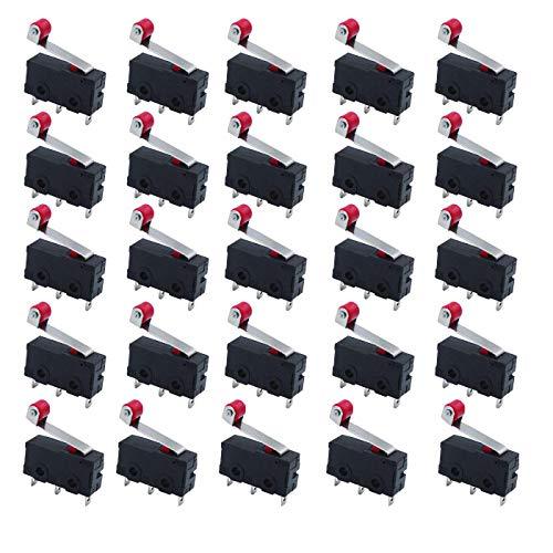 HUAYAO 25 Piezas Micro Interruptor Final de Carrera Momentáneo Interruptor de Límite Micro Rodillo Bisagra Larga Momentáneo de Acción Rápida AC 125V 250V 5A SPDT Micro Acción Rápida Interruptor