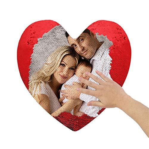 Almohadas Personalizadas En Forma De Corazón (Incluidas Las Almohadas Internas) Almohadas Personalizadas Con Lentejuelas Fotográficas Fundas De Almohada Con Tapa Cojines Decorativos Para Sofá (rojo)
