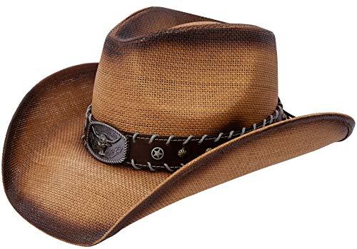 Queue Essentials Men & Women's Woven Straw Cowboy Cowgirl Hat Western Outback w/Wide Brim (Long Horn)