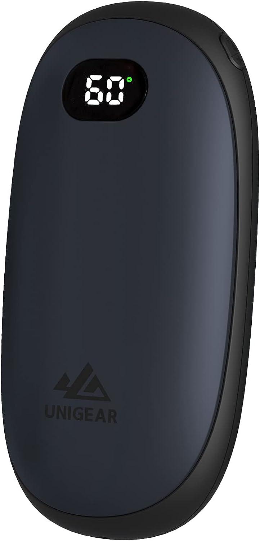 Unigear Calentador de Manos Recargable - Reutilizable Portable Electrónico Calienta Manos 5200mah USB Banco de Energía Calor 35-55°C y Digital Pantalla, para Raynauds, Exterior, Camping, Senderismo
