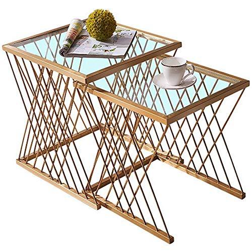 GRXXX Juego de Mesas Nido Mesa Lateral Sala de Estar Muebles Mesa para sofá Balcón o en el Dormitorio de anidamiento Mesa de café, diseño Creativo Cesta del Metal y Vidrio encimera