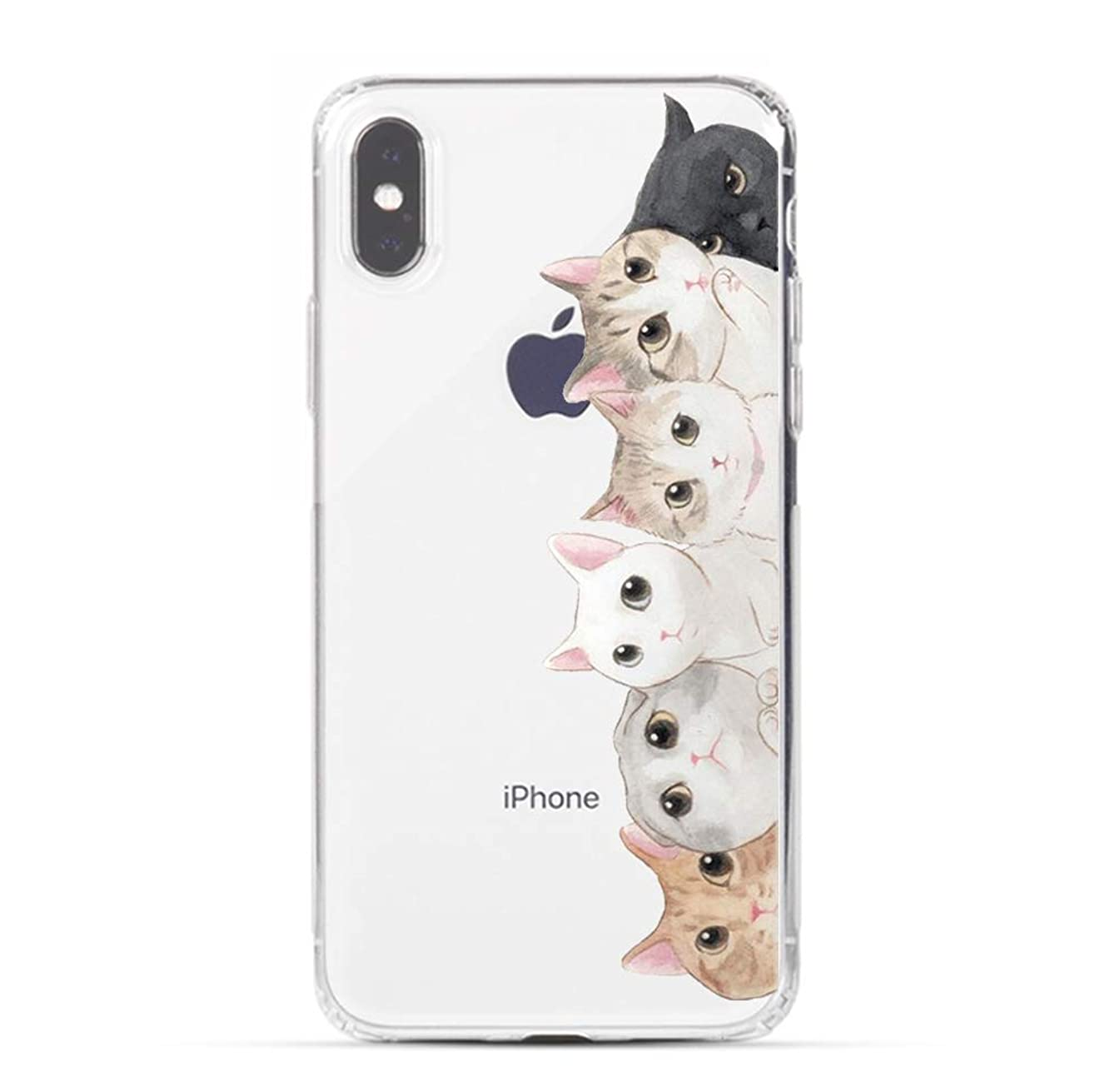 HUIYCUU Case Compatible with iPhone Xs Max Case, Funny Cats Design Slim Fit Soft TPU Protective Shell Cute Black Animal Pattern Clear Novelty Bumper Back Cover for iPhone Xs Max,Orange White Cat