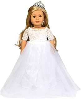 HWD Girls Doll Clothes and Accessories , Princess Costume , Wedding Dress , Party Gown Dress for American 18 inch Dolls (W...