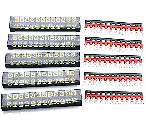 RilexAwhile 5 Pcs Dual Row 12 Position Screw Terminal Strip 600V 15A + 10 Pcs (5 Red,5 Black) 400V 15A 12 Positions Pre Insulated Terminal Barrier Strip for Railway, Computer etc. (12 Position)